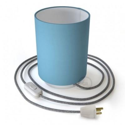 Posaluce en metal blanco con pantalla cilíndrica Tela celeste, cable textil, interruptor y clavija bipolar