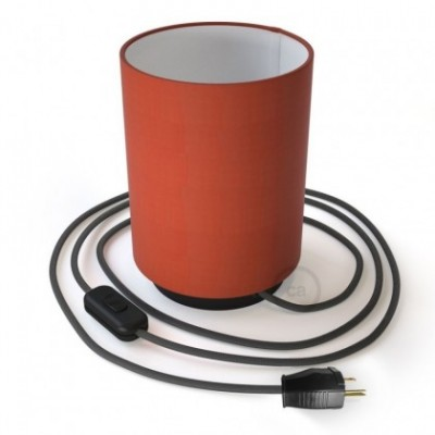 Posaluce en metal negro con pantalla cilíndrica Cinette Langosta, cable textil, interruptor y clavija bipolar