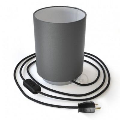 Posaluce en metal cromado con pantalla cilíndrica Electra Pingüino, cable textil, interruptor y clavija bipolar