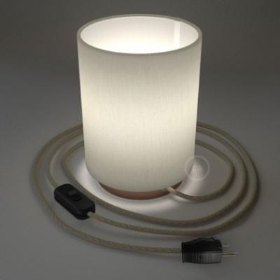 Posaluce en metal cobre con pantalla cilíndrica Lino Blanco, cable textil, interruptor y Clavija bipolar