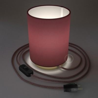 Posaluce en metal latón con pantalla cilíndrica Tela Burdeos, cable textil, interruptor y clavija bipolar