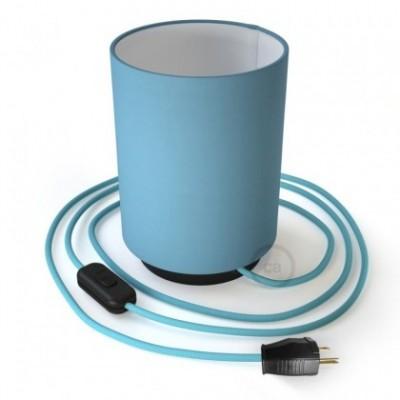 Posaluce en metal negro con pantalla cilíndrica Tela Celeste, cable textil, interruptor y clavija bipolar
