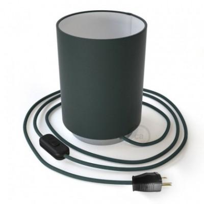 Posaluce en metal cromado con pantalla cilíndrica Cinette Azul Petroleo, cable textil, interruptor y clavija bipolar