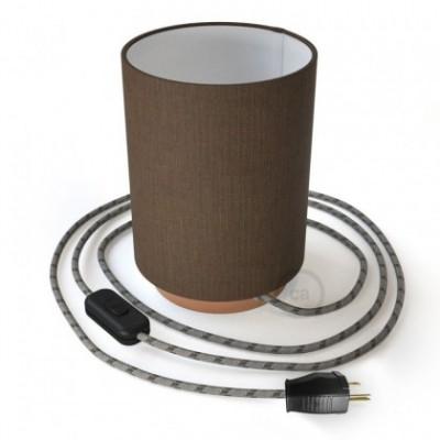 Posaluce en metal cobre con pantalla cilíndrica Camelot Marrón, cable textil, interruptor y clavija bipolar