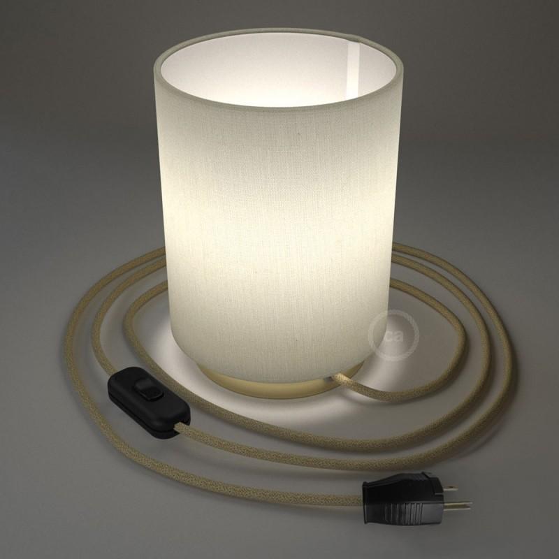 Posaluce en metal latón con pantalla cilíndrica Lino Blanco, cable textil, interruptor y clavija bipolar