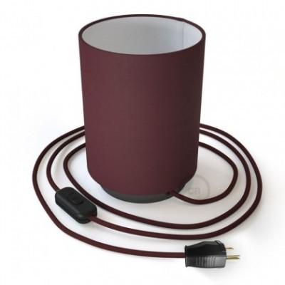 Posaluce en metal negro perla con pantalla cilíndrica Tela Burdeos, cable textil, interruptor y clavija bipolar