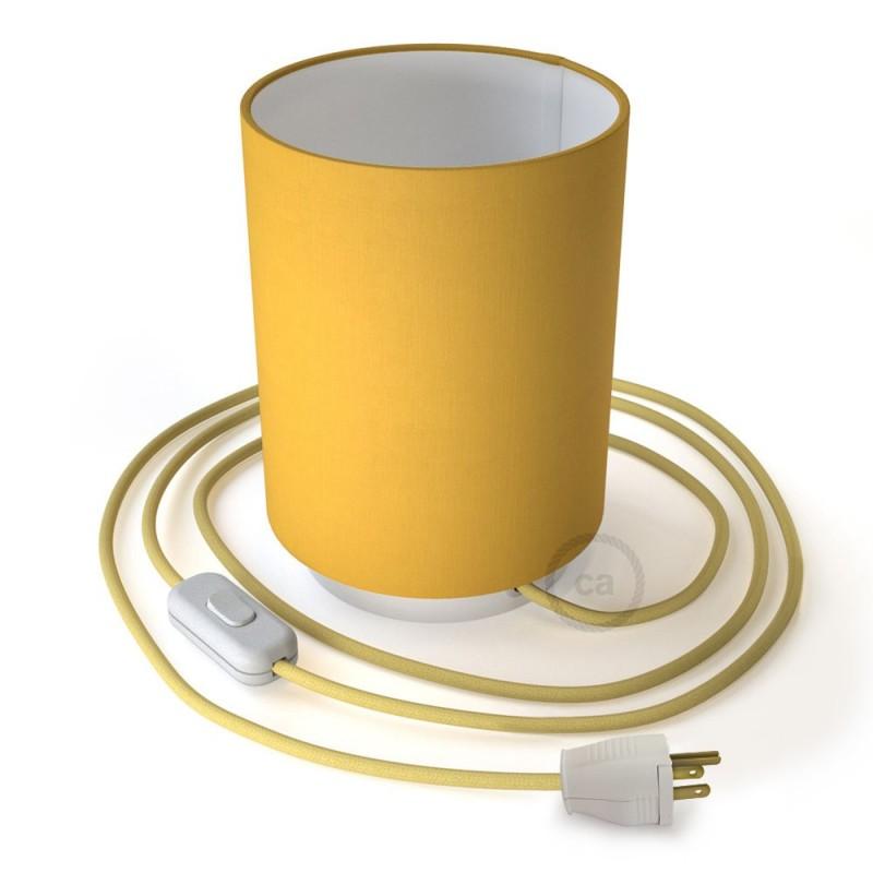 Posaluce en metal blanco con pantalla cilíndrica Tela Amarillo Vivo, cable textil, interruptor y clavija bipolar
