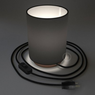 Posaluce en metal cobre con pantalla cilíndrica Tela negra, cable textil, interruptor y clavija bipolar