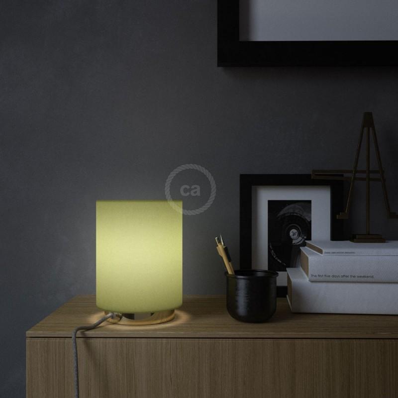 Posaluce en latón con pantalla cilíndrica Tela Verde Aceituna, cable textil, interruptor y clavija bipolar