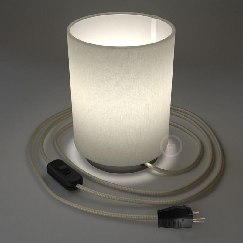 Posaluce en metal negro perla con pantalla cilíndrica Lino Blanco, cable textil, interruptor y clavija bipolar