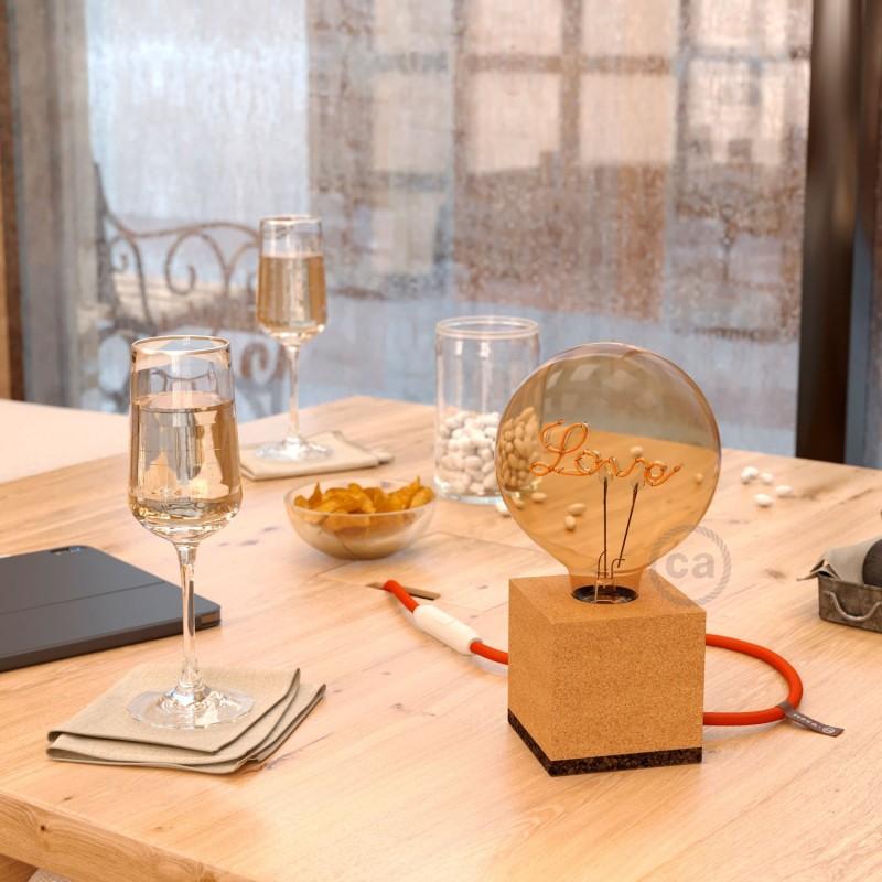 MoCo Posaluce Cubetto en corcho natural, con cable textil RM15, interruptor y clavija 2 polos