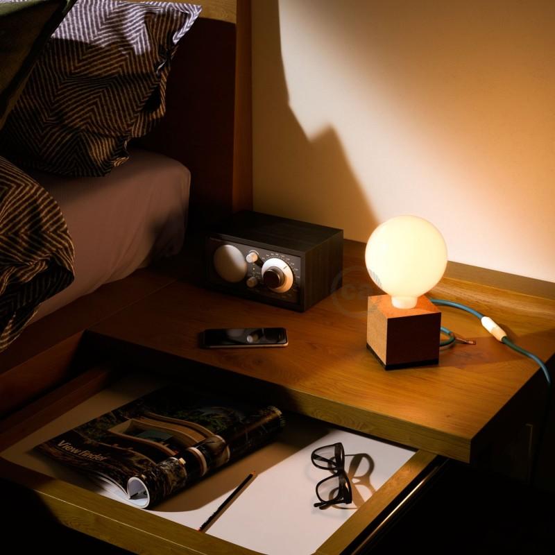 MoCo Posaluce Cubetto en corcho natural, con cable textil RM11, interruptor y clavija 2 polos