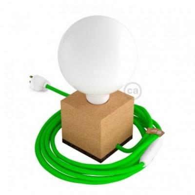 MoCo Posaluce Cubetto en corcho natural, con cable textil RF06, interruptor y clavija 2 polos