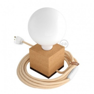 MoCo Posaluce Cubetto en corcho natural, con cable textil RN06, interruptor y clavija 2 polos