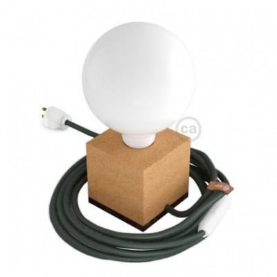 MoCo Posaluce Cubetto en corcho natural, con cable textil RC63, interruptor y clavija 2 polos