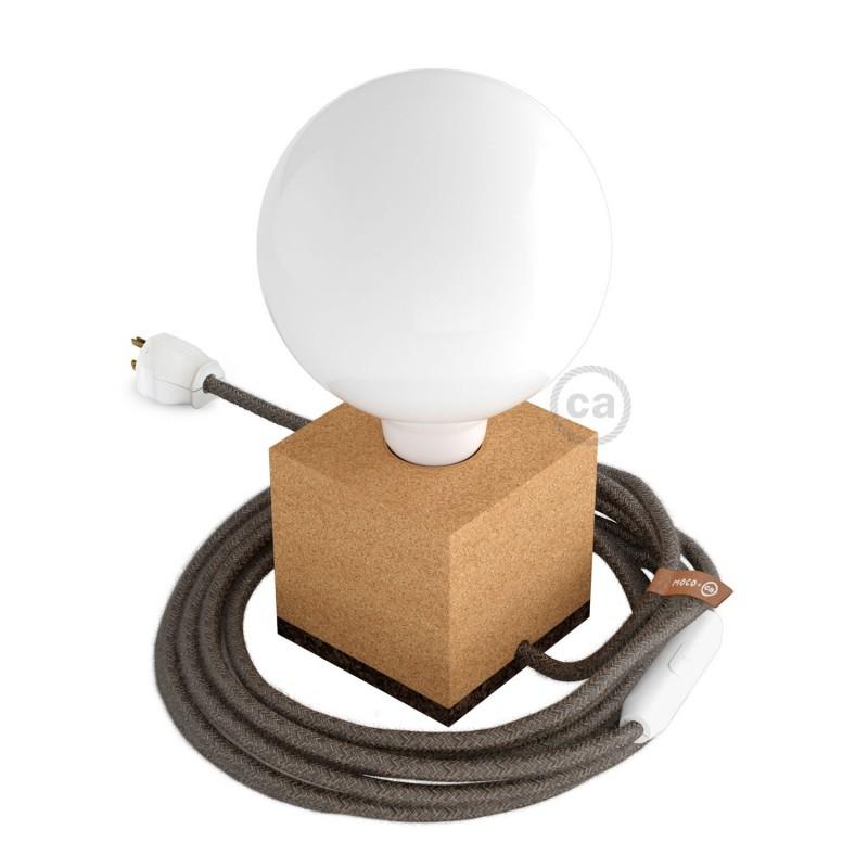 MoCo Posaluce Cubetto en corcho natural, con cable textil RN04, interruptor y clavija 2 polos
