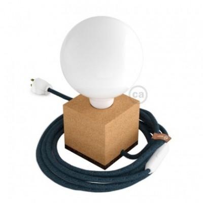 MoCo Posaluce Cubetto en corcho natural, con cable textil RX10, interruptor y clavija 2 polos