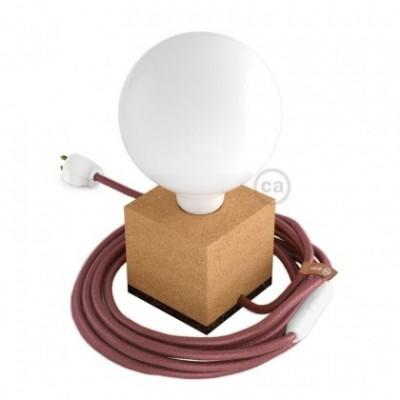 MoCo Posaluce Cubetto en corcho natural, con cable textil RX11, interruptor y clavija 2 polos