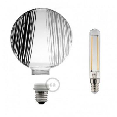 Bombilla Decorativa Modular LED G125 opal con círculos blancos y negros de 5W luz cálida
