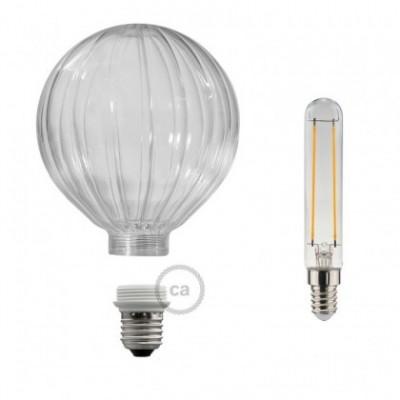 Bombilla Decorativa Modular LED G125 en vidrio trasparente silueta globo de 5W en luz cálida