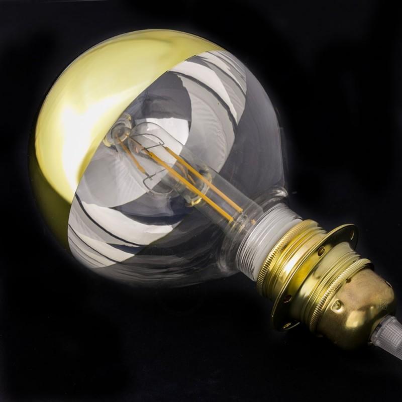 Bombilla Decorativa Modular LED G125 en vidrio semisfera oro de 5W en luz cálida