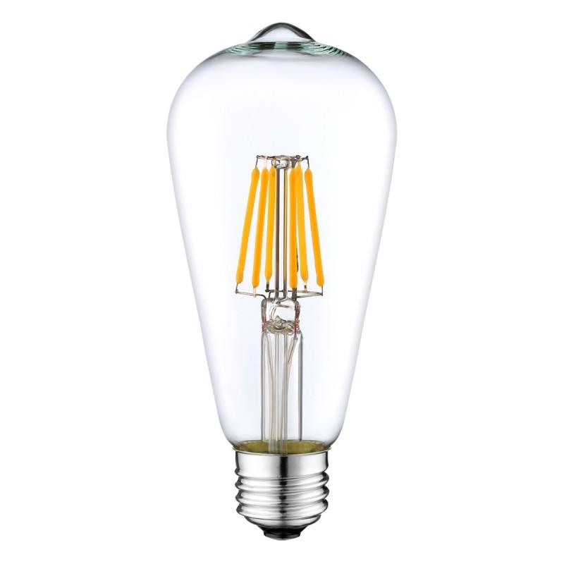 Bombilla transparente LED ST64 filamento recto 4W luz cálida