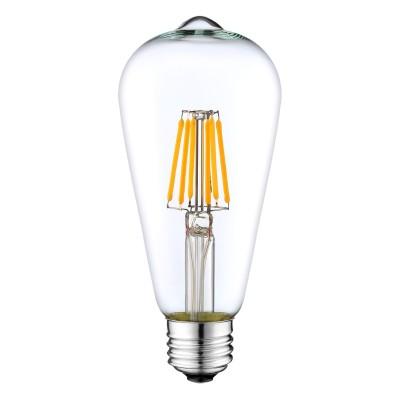 Bombilla transparente LED ST64 filamento recto 4W luz cálida - LCO059