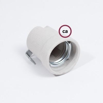 Kit portalámparas de porcelana E27 con soporte interior