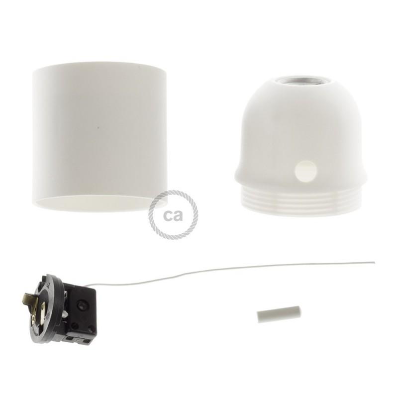 Kit portalámparas termoplástico para pantallas E27 con tirador