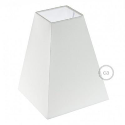 Pantalla de tela Pirámide Cuadrada casquillo E27, base 16x16cm H20cm - 100% Fabricado en Italia