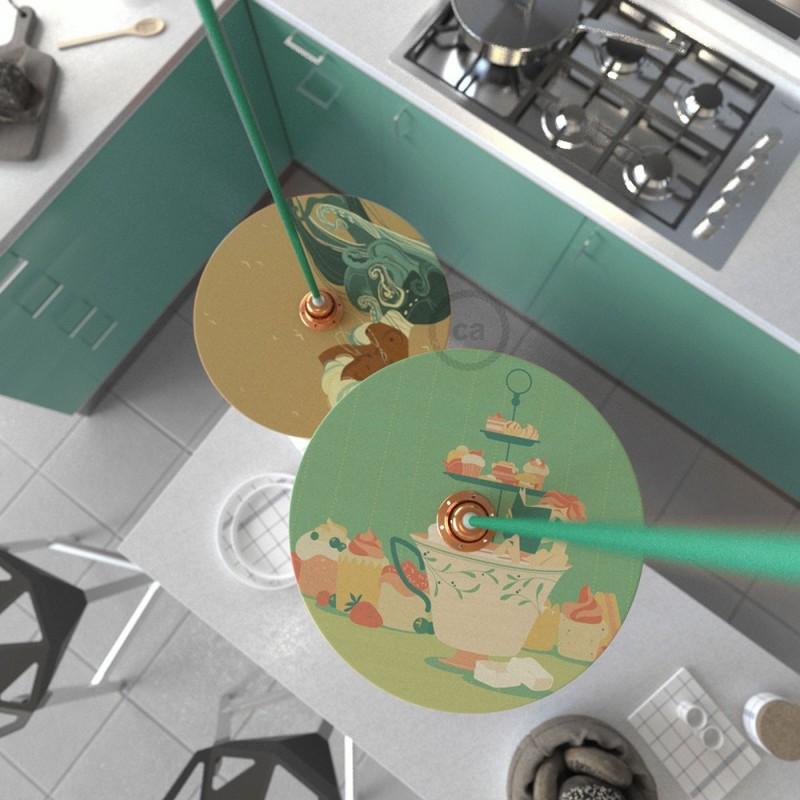 UFO Pantalla de madera ilustrada por varios artistas, doble cara - Diámetro 33cm