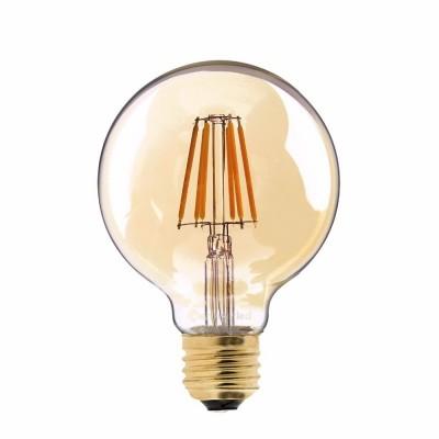 Bombilla ámbar LED globo G95, Filamento Recto de 4W luz cálida 2700K - LCO069