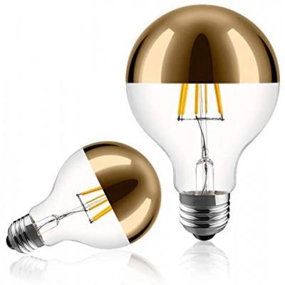 Bombilla LED Decorativa G80. Vidrio media esfera dorado de 6W dimerizable - 2700K Luz cálida