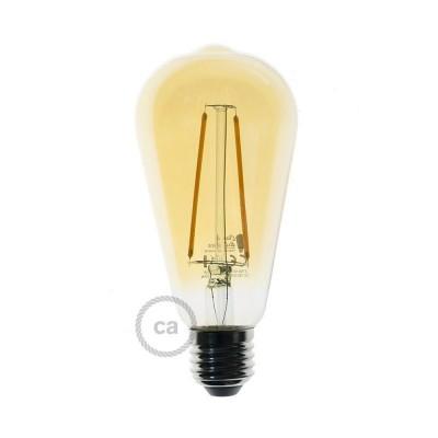 Bombilla Dorada LED Edison ST64 Filamento Largo 4W E27 Decorativa Vintage 2500K - LCO079