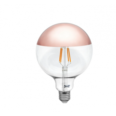 Bombillo LED globo G125 de 1,4watt con cima especular cobre