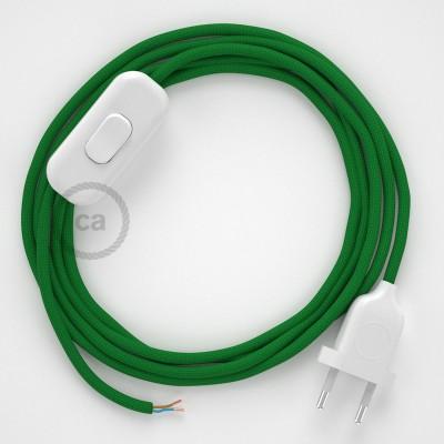 Cableado para lámpara, cable RM06 Efecto Seda Verde 1,8m. Elige tu el color de la clavija y del interruptor!