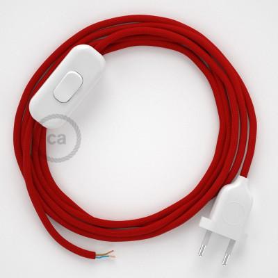 Cableado para lámpara, cable RM09 Efecto Seda Rojo 1,8m. Elige tu el color de la clavija y del interruptor!