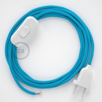 Cableado para lámpara, cable RM11 Efecto Seda Celeste 1,8m. Elige tu el color de la clavija y del interruptor!