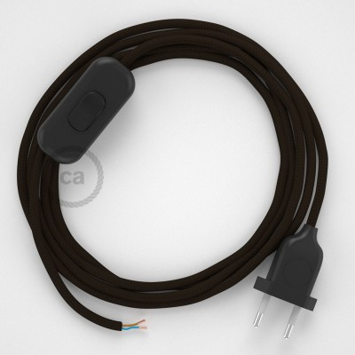 Cableado para lámpara, cable RM13 Efecto Seda Marrón 1,8m. Elige tu el color de la clavija y del interruptor!