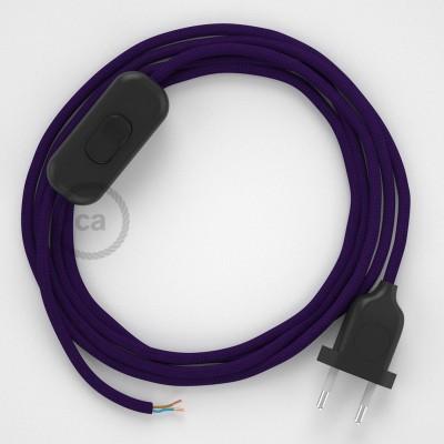 Cableado para lámpara, cable RM14 Efecto Seda Púrpura 1,8m. Elige tu el color de la clavija y del interruptor!