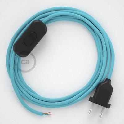 Cableado para lámpara, cable RM17 Efecto Seda Celeste Bebé 1,8m. Elige tu el color de la clavija y del interruptor!