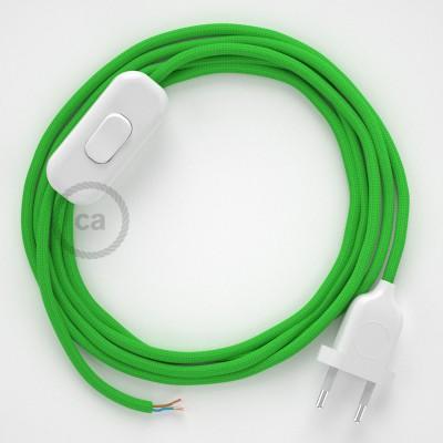 Cableado para lámpara, cable RM18 Efecto Seda Verde Lima 1,8m. Elige tu el color de la clavija y del interruptor!