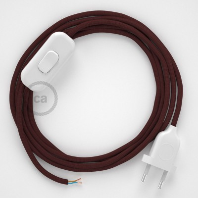 Cableado para lámpara, cable RM19 Efecto Seda Burdeos 1,8m. Elige tu el color de la clavija y del interruptor!