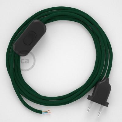 Cableado para lámpara, cable RM21 Efecto Seda Verde Oscuro 1,8m. Elige tu el color de la clavija y del interruptor!