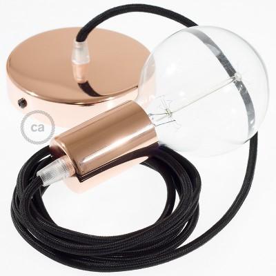 Pendel único, lámpara colgante cable textil Negro en tejido Rayón RM04