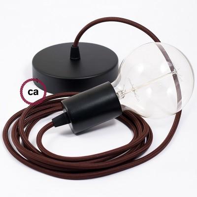 Pendel único, lámpara colgante cable textil Café en tejido Rayón RM13