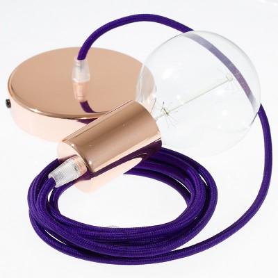 Pendel único, lámpara colgante cable textil Púrpura en tejido Rayón RM14