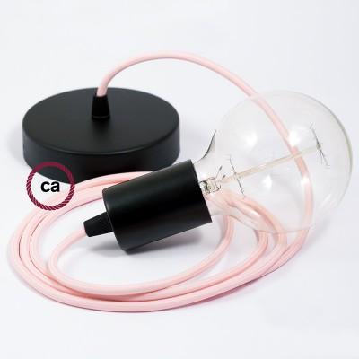 Pendel único, lámpara colgante cable textil Rosa Baby en tejido Rayón RM16