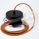 Pendel único, lámpara colgante cable textil Whisky en tejido Rayón RM22