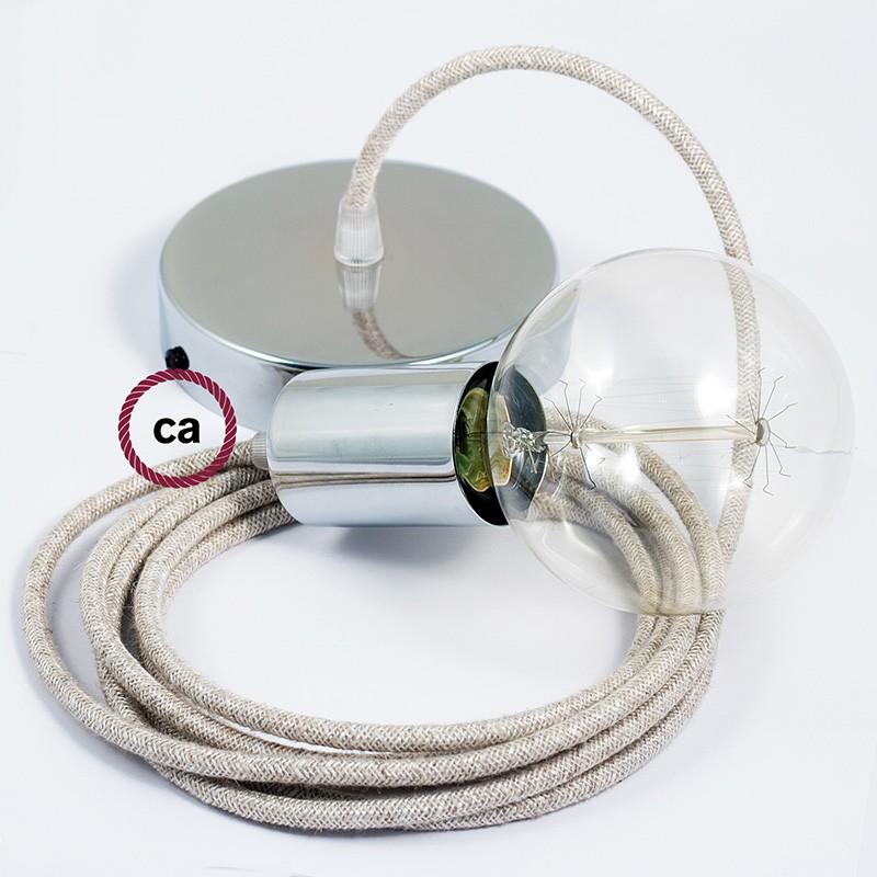 Pendel único, lámpara colgante cable textil Neutro en Lino Natural RN01